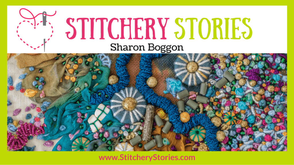 Sharon Boggon guest Stitchery Stories embroidery podcast Wide Art