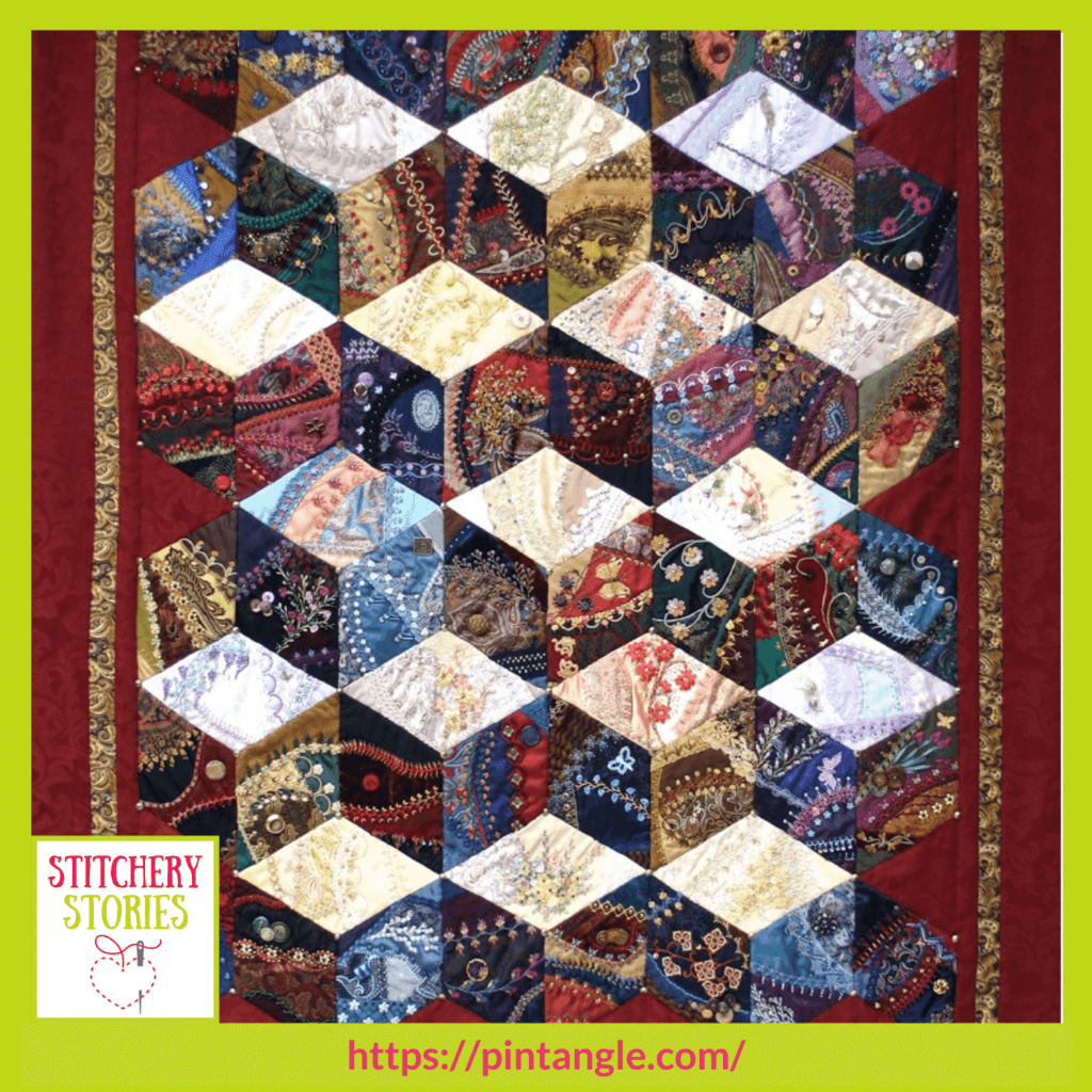 crazy quilt by Sharon Boggon guest Stitchery Stories embroidery podcast