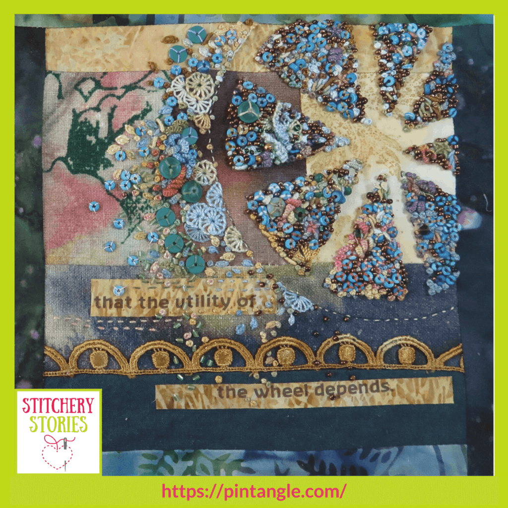 the wheel creative hand embroidery Sharon Boggon guest Stitchery Stories embroidery podcast