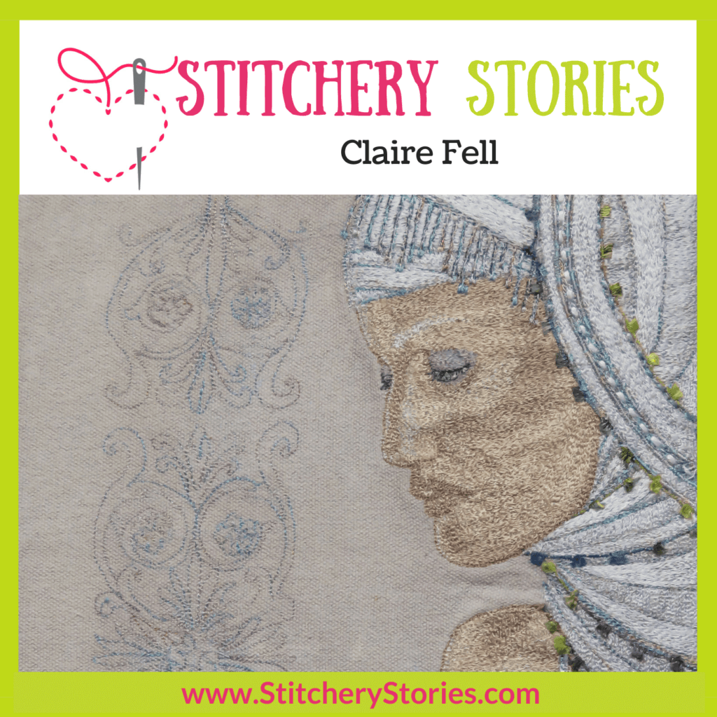 Claire Fell guest Stitchery Stories Podcast Episode Art