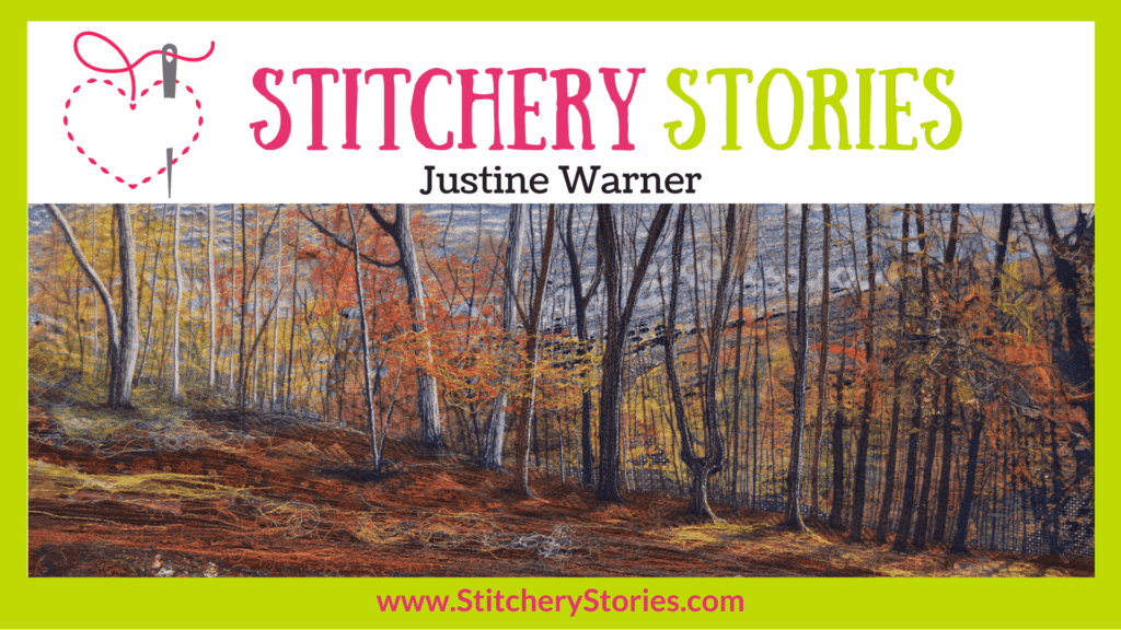 Justine Warner guest Stitchery Stories embroidery podcast Wide Art